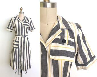 vintage 1940s dress   40s striped day dress