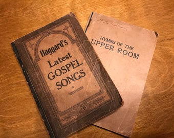 Vintage Gospel Song books//Haggards latest gospel songs//Hymns of the upper room//Old fashion Gospel music book