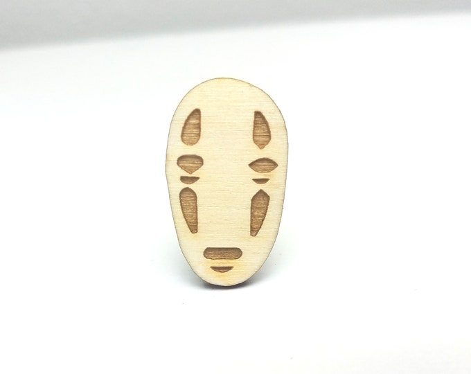 No Face Pin | Laser Cut Jewelry | Wood Accessories | Wood Pin | Handmade Pin |