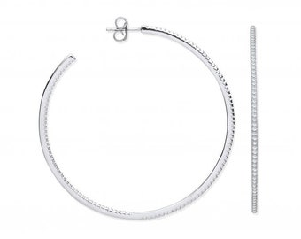 Large 925 Sterling Silver 60mm Micro Pave Cz Open Hoop Earrings