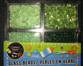Glass Beads in Shades of Green