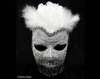 Venetian mask, masquerade ball mask, silver mask, feathered mask, bridal mask, retro mask, veiled mask, ethnic mask, elegant mask, bird mask