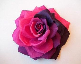 Purple, Dark pink, Deep pink, Maroon Silk Rose hair accessory or brooch