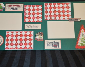 Pre-made Ugly Sweater Scrapbook page kit