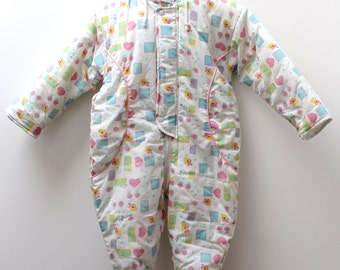 Vintage white hooded snowsuit polyester/cotton with pastel print, 18 months