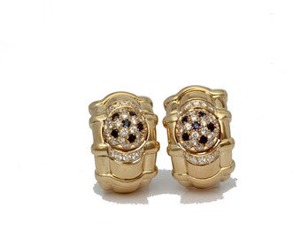 Piaget vintage earrings 18kt yellow gold with sapphire and diamonds