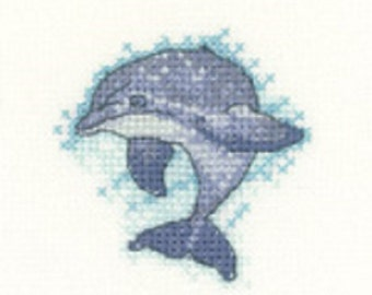 Dolphin Cross Stitch Kit from  Heritage Craft Little Friends on 14ct Aida,  needlework kit, cross stitch, counted cross stitch kit