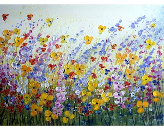 Flowers Original Painting Large Canvas WINDY FIELD Modern Impasto Art 40x30