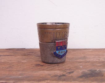 Vintage Canadian Just A Thimble Full Silver Plated Jigger Shot Glass - Canada Coat of Arms