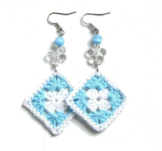 Crochet Hook Earrings: Aqua Blue And White Crochet Square Earrings Boho Long