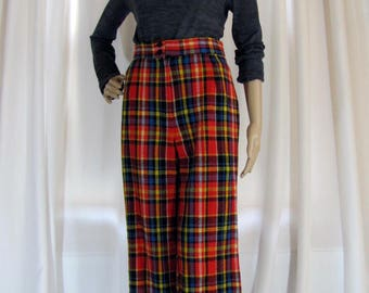 1970's High Waisted Red Plaid Wide Leg Pants, Small, Plaid, High Waisted, Wide Leg, Wool Blend, Red, Blue, Yellow, Black, 1970's, 70's