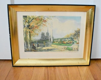 Charles Mondin French Watercolor Print Signed And Numbered  Notre Dame And  Seine Print  Paris