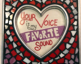 """OOAK Framed Embroidery """"Your Voice is my Favorite Sound"""""""