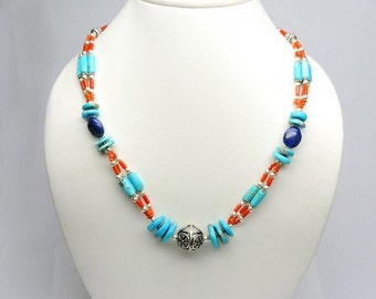 Allnonly Lapis Coral Natural Turquoise Fine Beads Necklace