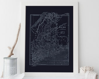 MAINE STATE MAP  - Blueprint Map of Maine, Vintage Map, Office Wall Art, Professional Reproduction