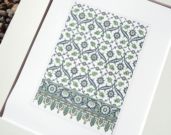 Navy Blue & Green Antique Moorish Tile Pattern Archival Quality Print