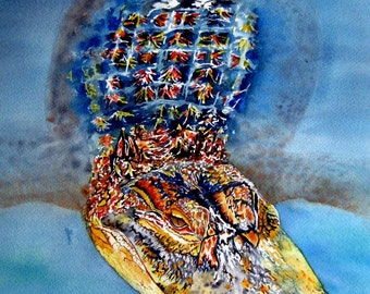 """Alligator Watercolor print from an original piece of artwork called """"Floating Gator"""""""