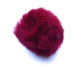 Ball of Burgundy plush with loop elastic size 60mm