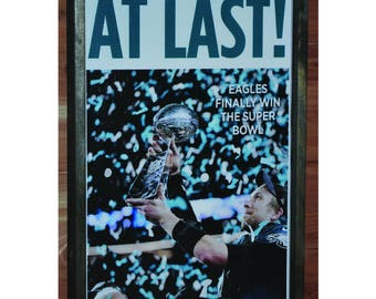 Philadelphia eagles etsy philadelphia eagles superbowl enquirer newspaper cover wood plaque framed or un framed option solutioingenieria Choice Image
