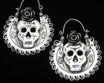 Dia De Los Muertos Skull Arracadas