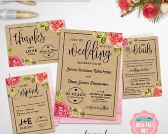"Wedding Invitation ""Kraft Informal"" (Printable File Only) Wedding Invitation, RSVP Card, Details Card, Accommodations Card, Casual Wedding"