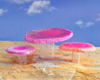Agate Gemstone Bistro Set, Pink for Miniature Garden, Fairy Garden