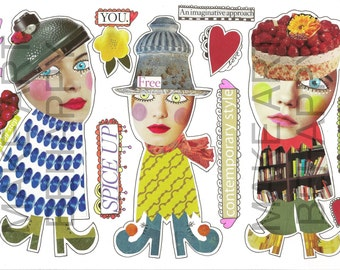 Collage sheet, journal sheet, quirky characters, mixed media dolls nr D01