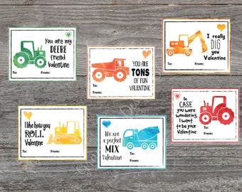 Kids Valentine cards. Tractor and Construction Truck Valentine Cards.Printable Valentine. 6 Children's DIY Valentine's Day cards for school.