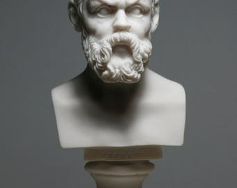 Greek Philosopher SOCRATES Alabaster Bust Head Statue Sculpture Décor 5.9in - 15cm **Free Shipping & Free Tracking Number**