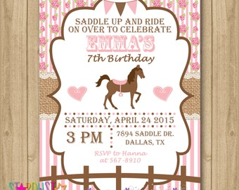 Pony party invitations edit and download with templett horse birthday invitation horse invitation cowgirl invitation filmwisefo Images