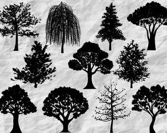 11 Tree Silhouettes | Tree Cliparts | Tree SVG cut files | Tree wall print | vinyl design | printable | vectors | digital files | prints