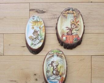 Decoupage Three Mice Wooden Wall Hangings Set of Three