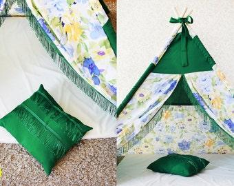 kids playtime teepee, kids play house, forest flowers, playtime teepee, tepee, kids tepee, play tent, toddler lodge, wigwam green teepee