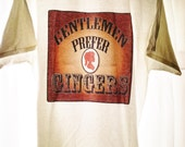XL Steampunk T-shirt Gentlemen Prefer Gingers Victorian Redhead Woman Sillhouette Cameo White Cotton Old West Style Printed Coppery T-shirt