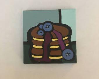 Blueberry pancakes syrup acrylic painting 3x3 inches kitchen decor housewarming