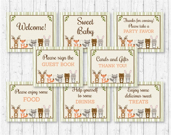 Woodland Animal Baby Shower Party Signs Woodland Baby Shower