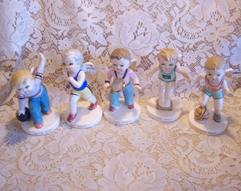 Rare HTF Boy Sport Angels Of The Month Figurines, Japan
