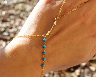 Gold Arrow Slave Bracelet with Turquoise Accents - Turqiouse Gold Hand Chain - Gemstone Slave bracelet - Hand Harness