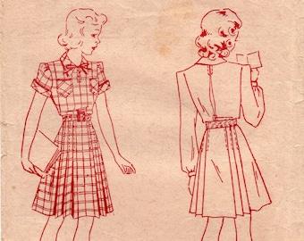 Pauline 4981 Teen Girls School Dress Pleated Shirtdress Rare 1940s Vintage Sewing Pattern Size 14 years