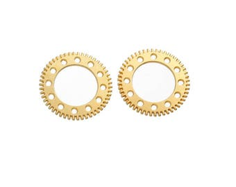 10 gold steampunk gears clock gold rings toothed rings rings