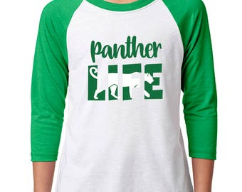 Youth Panther Life Raglan - School Spirit - Panthers - Unisex 3/4 Sleeve Green/White Baseball Tee