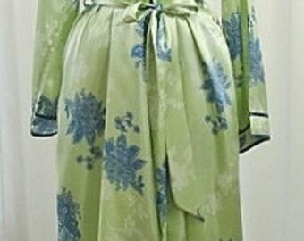 Designer Peignoir Set Jones New York Green Blue Vintage XL