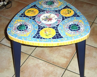 table low original and unique mosaic Picassiette and paint