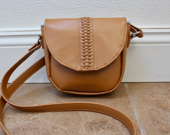 Faux Leather Hand Braided Crossbody