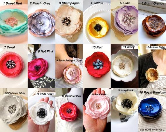 Pick 1 large silk fabric flower brooch pin handmade brooches mightylinksfo