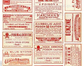 Vintage Medical Pharmacy Poison Labels Set 3 Printable JPG Digital Download Collage Sheet