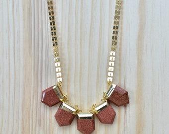 Hero/// Red Goldstone Gemstone Gold Statement Necklace/ Gem Mineral Crystal Red Goldstone / Pentagon Five Stones (EP-NCC11-RG)