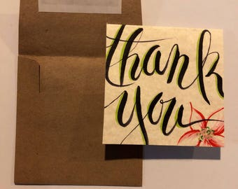 Floral Square Thank You Cards 4x4