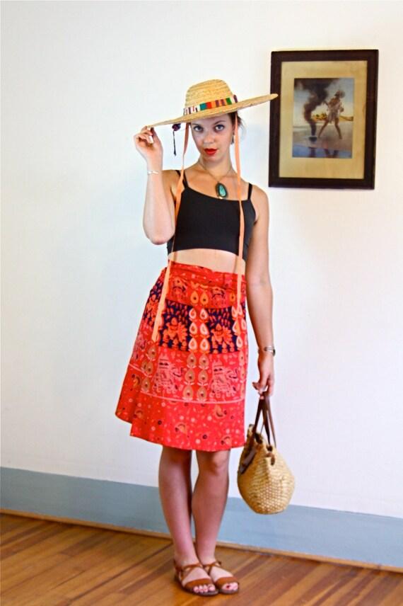 70s wrap skirt, Indian boho skirt, Cotton hippie skirt,Indian Block Print, 70s Ethnic wrap skirt, 1970s Paisley Skirt, India Elephants, Sz L