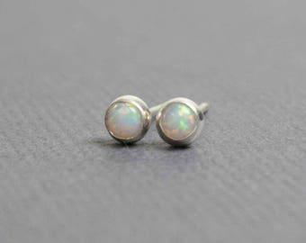 Tiny Opal Stud Earrings, Handmade Opal Earrings, Sterling and Opal Earrings, 3mm Opal Earrings, Opal Studs, Opal Earrings, Kathy Bankston